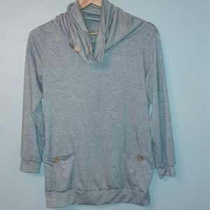Tops - Grey Button Cowel Neck Shirt Perfect For Work!